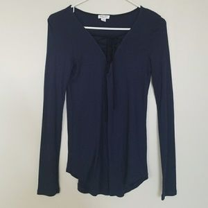 Splendid Tie Front V-neck Top